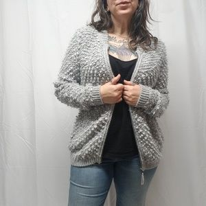 LUCKY BRAND Fuzzy Boucle Knit Zip Cardigan Sweater